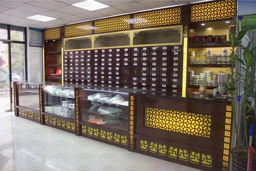 客户实拍定制款中药柜 玻璃展示柜 实木调剂台